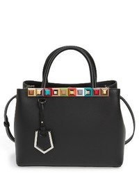 Fendi Petite 2jours Studded Calfskin Leather Shopper Black