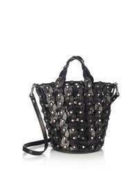 Jimmy Choo Maxine Woven Studded Tote Bag Black