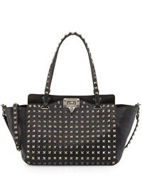 Valentino Noir Rockstud Mini Leather Studded Tote Bag Black