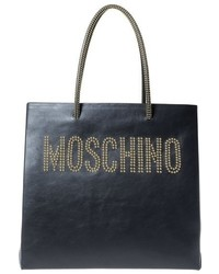 Moschino Studded Logo Leather Tote Black