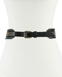 Neiman Marcus Studded Faux Leather Waist Belt