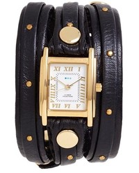 Collections studded leather wrap watch 19mm medium 241712