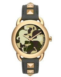 Karl Lagerfeld Karl Pop Gold Tone Studded Green Leather Strap Watch 40mm Kl2208