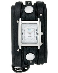 La Mer Collections Lmsw1000 Black Silver Stud Analog Display Quartz Black Watch