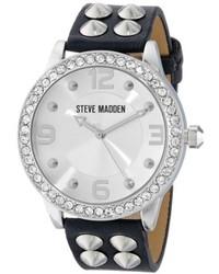 Steve Madden Smw00010 04 Black Silver Cone Stud Strap Watch