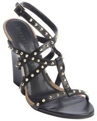 Burberry Black Leather Silver Stud Strappy Wedge Heel Sandals