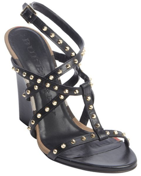 Burberry Black Leather Silver Stud
