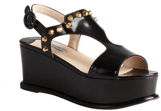 clearance real best cheap online Prada Studded Wedge Sandals tfmnbtPjm