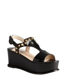 prada black leather studded gladiator sandals