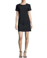 Tory Burch Waterbury Short Sleeve Studded Shift Dress Black