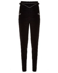 Eddie stud embellished suede trousers medium 321487