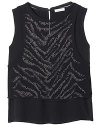 Rebecca taylor sleeveless embellished tiger studded top medium 131905