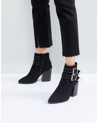 RAID Black Studded Heeled Ankle Boots Suede