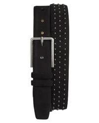 Black Studded Suede Belt