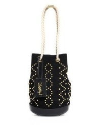 Saint Laurent Small Studded Suede Bucket Bag