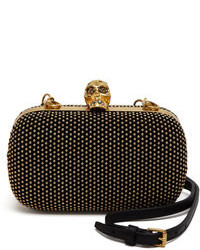 Black Studded Suede Clutch