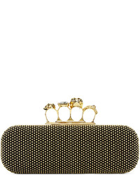 Alexander McQueen Black Studded Knuckle Box Clutch