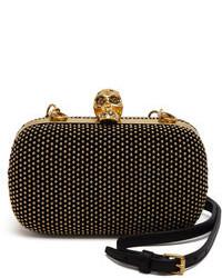 Alexander McQueen Studded Suede Skull Box Clutch Bag Black