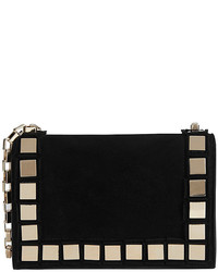 Tomasini Studded Suede Mini Shoulder Bag Black