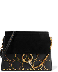 Chloé Faye Medium Studded Leather And Suede Shoulder Bag Black