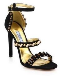 Prada Beaded Suede Sandals