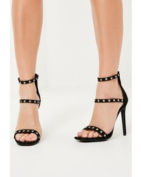 Missguided Black Faux Suede 3 Strap Star Studded Heeled Sandals