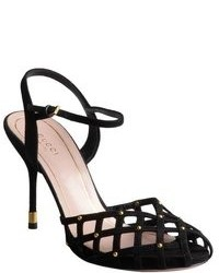 Gucci Black Suede Caged Peep Toe Ankle Strap Sandals
