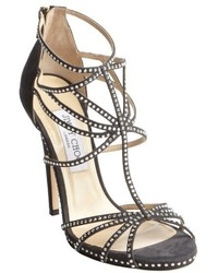 Jimmy Choo Black Suede Crystal Studded Heel Sandals