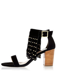 River Island Black Suede Fringed Studded Mid Heel Sandals