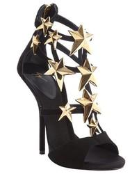 Giuseppe Zanotti Black Suede Star Studded Aliek Platform Sandals