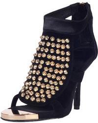 Choies Black Suede Studs Heeled Sandals