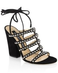 Elettra studded suede block heel sandals medium 3763233