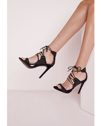 Missguided Stud Detail Lace Up Heeled Sandals Black