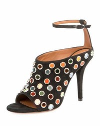 Givenchy Multicolor Studded Suede Sandal Black