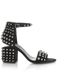 Alexander Wang Studded Abby Suede Sandal With Rhodium