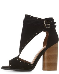 Charlotte Russe Studded Cut Out Buckled Sandals