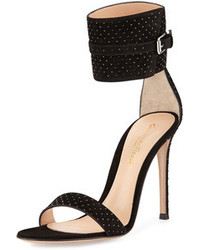 Gianvito Rossi Studded Suede Ankle Wrap Sandal