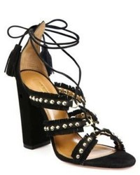 Aquazzura Tulum Studded Fringed Suede Sandals
