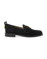Stuart Weitzman Crome Studded Suede Loafers