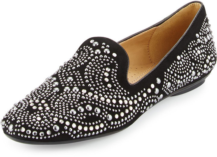 Neiman Marcus Studded Suede Loafer
