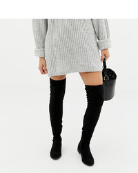 Asos Tall Asos Design Wide Fit Tall Kaska Flat Studded Over The Knee Boots