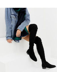 ASOS DESIGN Slim Kaska Flat Studded Thigh High Boots