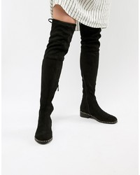 RAID Studded Flat Over The Knee Boots Suede