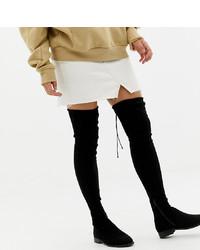 ASOS DESIGN Wide Leg Kaska Flat Studded Thigh High Boots