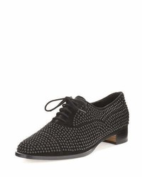 Manolo Blahnik Perlita Studded Suede Oxford Black