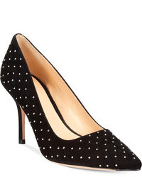 Black Studded Suede Pumps