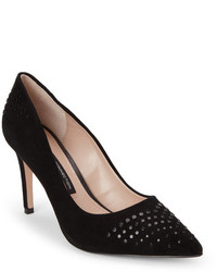 French Connection Black Ronnie Studded Pointed Toe Pumps