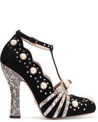 Gucci Embellished Elaphe Trimmed Suede Pumps Black