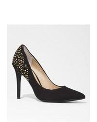 Express Suede Studded Pointed Toe Runway Pump Black 65