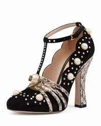 Gucci Ofelia Pearly Studded T Strap Pump Nero